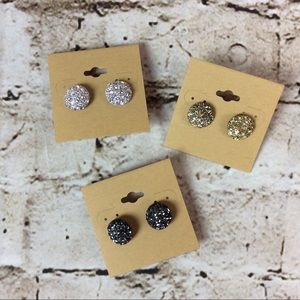 Jewelry - Set of 3 Druzy Inspired Earrings Gold Silver Black